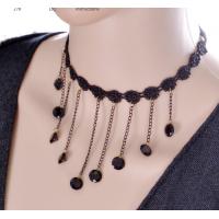 Women Lace Black Gem Pendant Ornament Necklace  N-16 (Black)