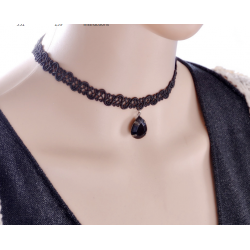 Women Fashion New Water Droplets Lace Necklace  N-18 (Black)
