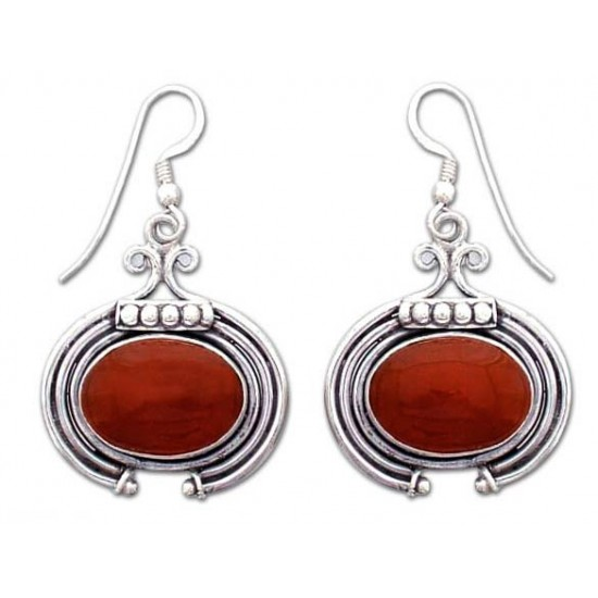 Brown Artisan  Desire Jewelry with Carnelian and Sterling Silver Earrings ANDE-11