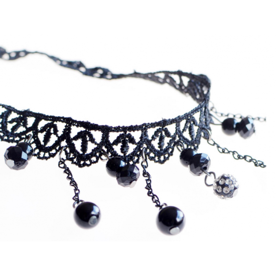 Women Fashion Retro Lace Necklace N-19 (Black) image