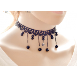 Women Fashion Retro Lace Necklace  N-19 (Black)