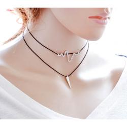 Women Simple Multi Layer Wind Retro Necklace N-22 (Black)