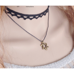 Double Layer Hexagram Lace Boutique Necklace N-23 (Black)