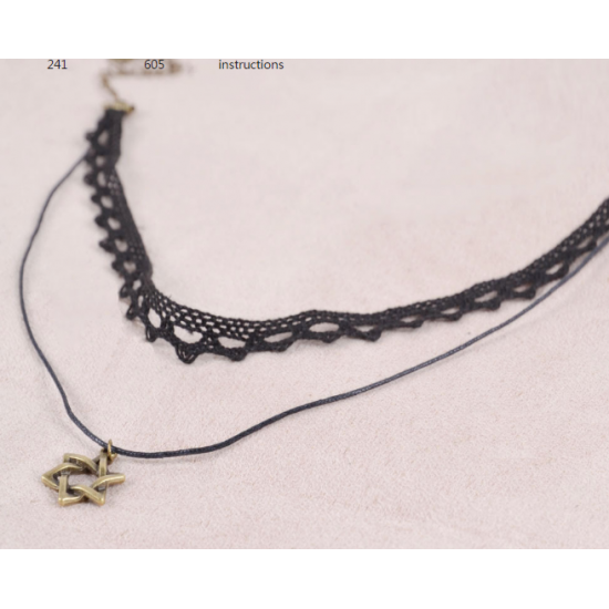 Double Layer Hexagram Lace Boutique Necklace N-23 (Black) image