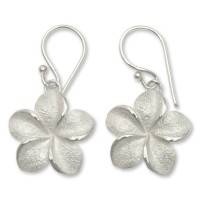 Frangipani Floral Sterling Silver Dangle Earrings ANDE-13