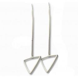 Woman Fashion Silver Long Hanging Triangle Earrings  E-03S
