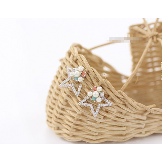 Woman Silver Star Style Luxury Diamond Earrings E-06S