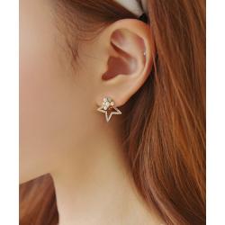 Woman Silver Star Style Luxury Diamond Earrings E-06S