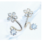 Woman Silver Sweet Diamond Flowers Earrings E-07S