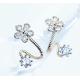 Woman Silver Sweet Diamond Flowers Earrings E-07S
