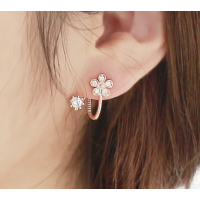 Woman Rose Gold Sweet Diamond Flowers Earrings E-07R