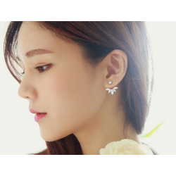 Woman Silver Crystal Rhinestone Ear Stud Earrings E-08S