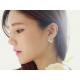 Woman Silver Crystal Rhinestone Ear Stud Earrings E-08S