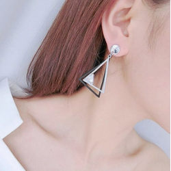 Woman Fashion Silver Double Triangular Braided Zircon Earrings E-16S