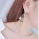 Woman Fashion Silver Double Triangular Braided Zircon Earrings E-16S