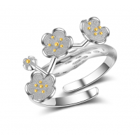 Woman Cherry Blossom Silver Ring R-01S