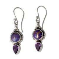 Purple Artisan Crafted Amethyst and Silver Earrings ANDE-16
