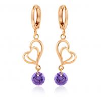Woman Fashion Double Heart Love GoldPlated Earrings E-24BL