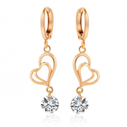 Woman Fashion Double Heart Love GoldPlated Earrings E-24W