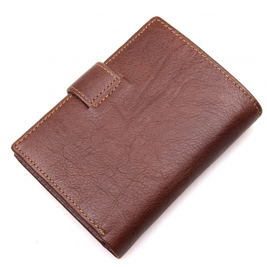 Men Genuine Leather Multi Slots & Multi Spaces Pocket Wallet MW-03 (Brown)