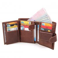 Men Genuine Leather Multi Slots & Multi Spaces Pocket Wallet MW-03 (Brown)