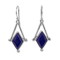 Blue Spark Lapis Lazuli Silver Artisan Dangle Earrings ANDE-20