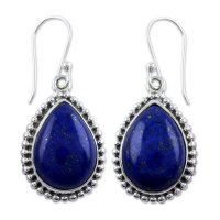 Blue Inspiration Lapis Lazuli and Sterling Silver Dangle Earrings ANDE-21