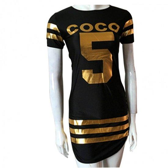 Black Color Slim Bodycon Stylish Print Mini Dress For Women WC-47