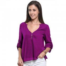 Women Fashion Long Sleeve V Neck Purple Loose Chiffon Shirt WC-01PR