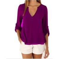 Women Fashion Long Sleeve V Neck Purple Loose Chiffon Shirt WC-01PR