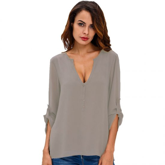 Women Fashion Long Sleeve V Neck Grey Loose Chiffon Shirt WC-01GR
