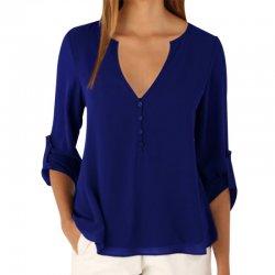 Women Fashion Long Sleeve V Neck Blue Loose Chiffon Shirt WC-01BL