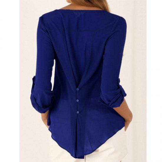 Women Fashion Long Sleeve V Neck Blue Loose Chiffon Shirt WC-01BL