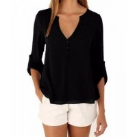 Women Fashion Long Sleeve V Neck Black Loose Chiffon Shirt WC-01BK