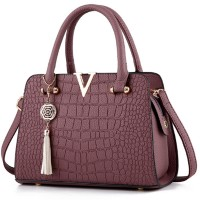 Solid Tea Pink Color Crocodile Pattern European Fashion Womens Handbag WB-17 TP