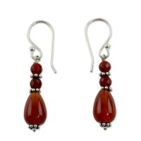 Brown Vibrant Jaipur Fair Trade Artisan Crafted Carnelian Earrings ANDE-22