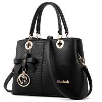 Black Color Embossed Shoulder Square Style Zipper Handbags For Women WB-18BK