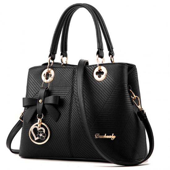 Black Color Embossed Shoulder Square Style Zipper Handbags For Women WB-18BK image