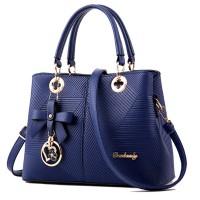 Blue Color Embossed Shoulder Square Style Zipper Handbags For Women WB-18BL