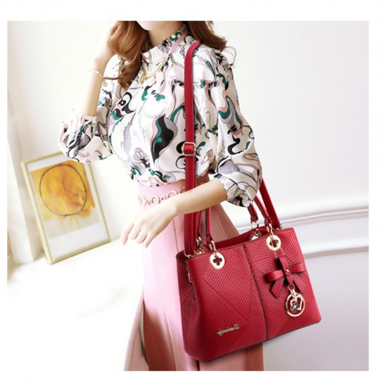 Red Color Embossed Shoulder Square Style Zipper Handbags For Women WB-18RD image