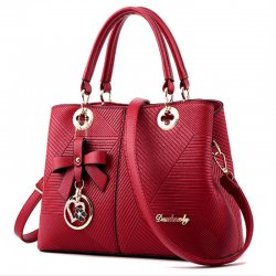 Red Color Embossed Shoulder Square Style Zipper Handbags For Womens WB-18RD