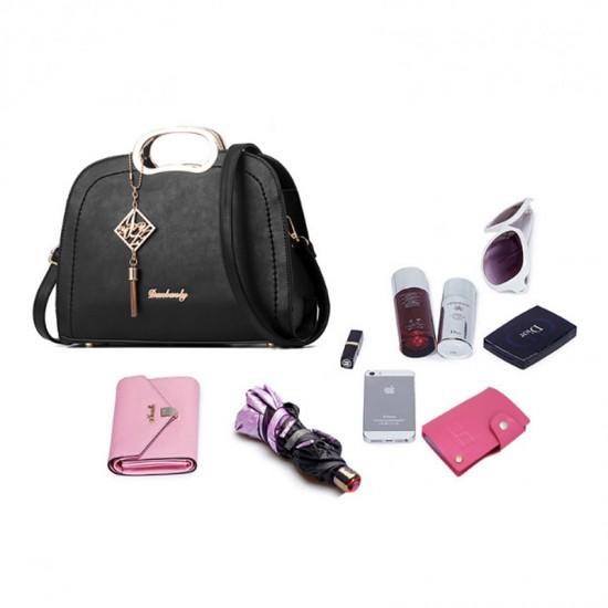 Black Color Trendy Leisure shoulder Messenger Handbag For Womens WB-19BK image