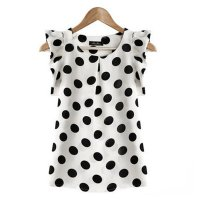 Womens Fashon White Color Sleeveless Round Collar Chiffon Tops WC-02