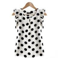 Women Fashion White Color Sleeveless Round Collar Chiffon Tops WC-02