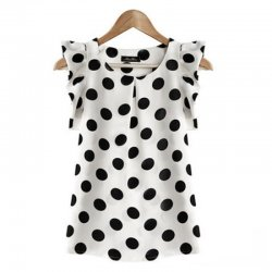 Women Fashion White Color Sleeveless Round Collar Chiffon Tops WC-02