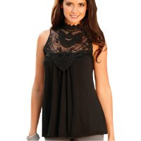 Womens Fashion Black Color Lace Round Neck Sleeveless Vest Shirts WC-03BK