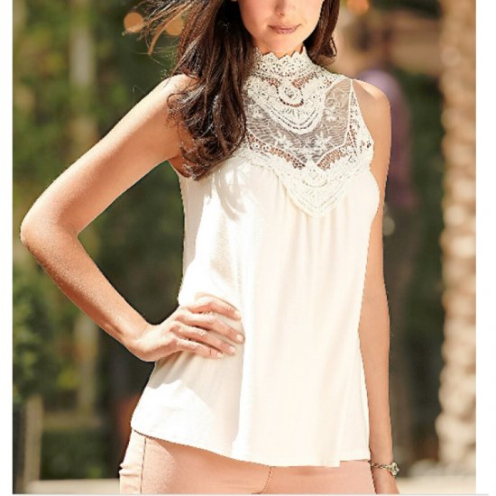Womens Fashion White Color Lace Round Neck Sleeveless Vest Shirts WC-03W image
