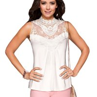 Womens Fashion White Color Lace Round Neck Sleeveless Vest Shirts WC-03W