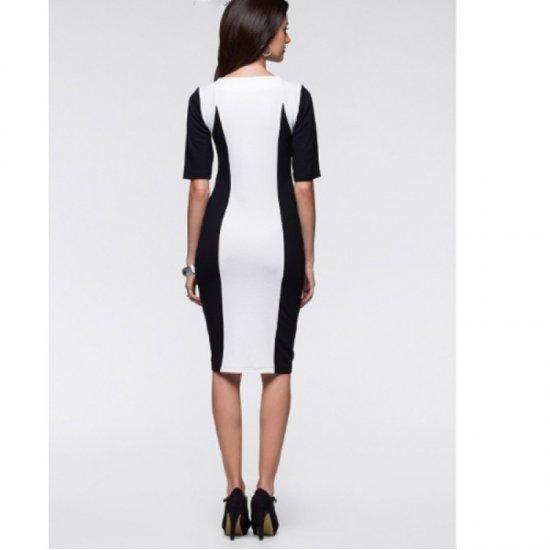 Women Fashion Slim White Color Splicing Bursts Bodycon Dress WC-04
