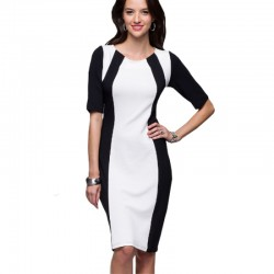 Women Fashion Slim White Color Splicing Bursts Bodycon Dress WC-04